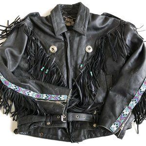 FIRST MFG Black Genuine Leather Fringe Beaded West